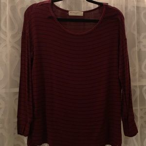 Red and black striped tee